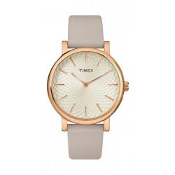 ساعة تايمكس بعرض تناظري وحزام من الجلد للنساء (TW2R96200)