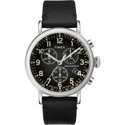 ساعة تايمكس انديجلو بعرض كرونوغراف وحزام من الجلد للرجال - ٤١ ملم - أسود (TW2T21000)