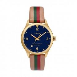 ساعة تايمكس إنديغلو النسائية بعرض تناظري - ٣٤ ملم مع حزام جلد (TW2T26300)