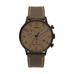 ساعة تايمكس انديجلو بعرض تناظري وحزام من الجلد للرجال - ٤٠ ملم - (TW2T28300)
