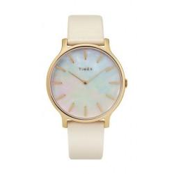 ساعة تايمكس النسائية بعرض تناظري - ٣٨ ملم مع حزام جلدي (TW2T35400)