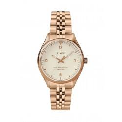 ساعة تايمكس واتربيرري النسائية بعرض تناظري - ٣٤ ملم بسوار معدني (TW2T36500)