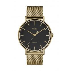 ساعة تايمكس إنديغلو للجنسين بعرض تناظري - ٤١ ملم مع حزام معدني (TW2T37300)