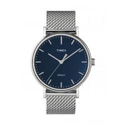 ساعة تايمكس إنديغلو للجنسين بعرض تناظري - ٤١ ملم مع حزام معدني (TW2T37500)
