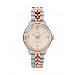ساعة تايمكس إنديغلو النسائية بعرض تناظري - ٣٤ ملم مع حزام معدني (TW2T49200)