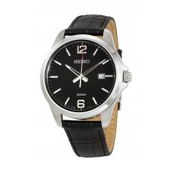 ساعة سيكو كوارتز للرجال بعرض تناظري وسوار جلدي - أسود (UR251P)