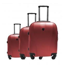 مجموعة حقائب السفر يو إس بولو كابادوكيا الصلبة - ٣ حقائب - أحمر (79X46X27CM)