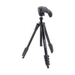 حامل كاميرا ثلاثي مدمج مع عصا تحكم من مانفروتو – ارتفاع ١٥٥ سم – أسود (MKCOMPACTACN-BK)