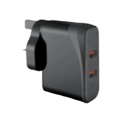 EQ Wall Charger 36W Dual USB Port - Black