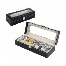 صندوق تخزين إم أي إس سي للساعات ٦ وسائد بحجم ٣٠ x ١١ x ٨ سم – أسود (WBBLK-6)