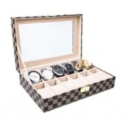 صندوق تخزين الساعات إم أي إس سي مع ١٢ وسادة بحجم ٣٠ × ٢٠ × ٨ سم – بني (WBCF-12)