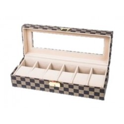 صندوق تخزين إم أي إس سي للساعات ٦ وسائد بحجم ٣٠ x ١١ x ٨ سم – بني (WBLV-6)