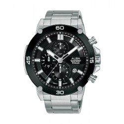 ساعة ألبا للرجال بنظام عرض كرونوغراف وحزام من المعدن - 100 ملم- (AM3737X1)