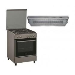 طباخ الغاز ويرلبول القائم ٤ شعلات بحجم ٦٠×٦٠ سم + شفاط طباخ الغاز من ويرلبول - ٦٠ سم