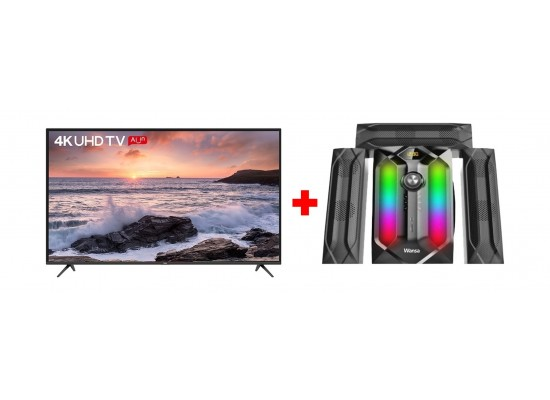 TCL 50 inch UHD Smart LED TV - (L50P65US) + Wansa 3.1Ch 100W FM USB Mini Multimedia System (TK-881)