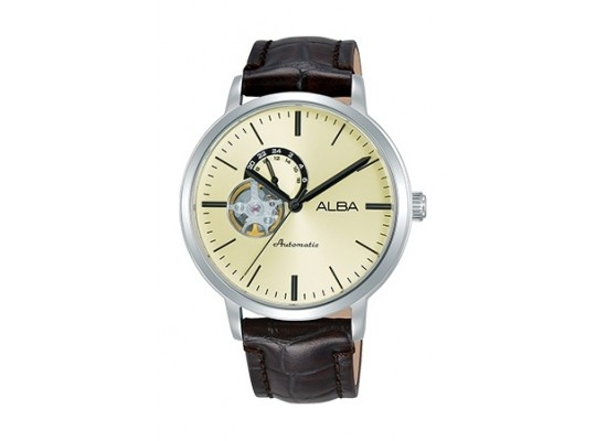 Alba 42mm Analog Gents Leather Watch (A9A007X1 ) - Black