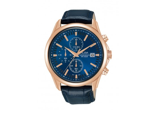 Alba 44mm Gent's Chronograph Leather Casual Watch - (AM3698X1)