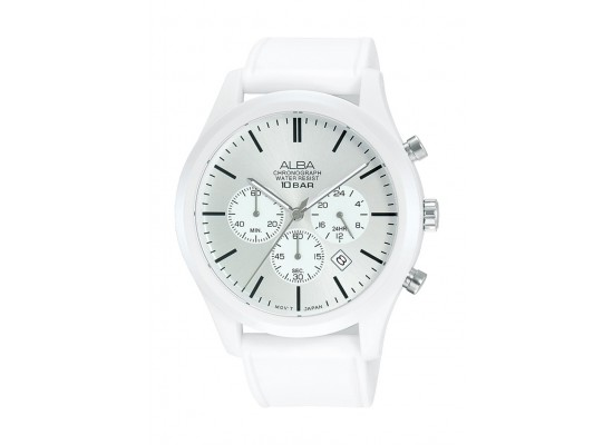 Alba 44mm Gent's Chronograph Silicon Sports Watch - (AT3G41X1)
