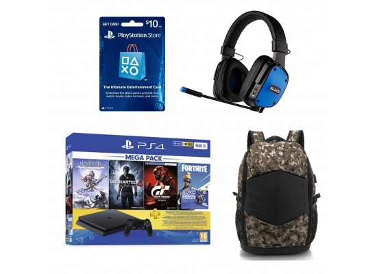 PlayStation 4 Slim 500GB + GT Sport + Uncharted 4 + Horizon Zero Dawn + 3M PSN Card + Fortnite Voucher + Sades Dpower Gaming Headset - Black/Blue + EQ Backpack for up to 17.3-inch Laptop + PSN Card USA $10