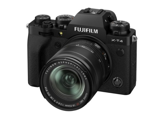 FUJIFILM X-T4 Mirrorless Digital Camera with 18-55mm Lens front facing side view