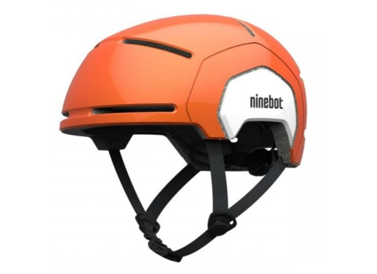 Segway Kickscooter Kids Commuter Helmet Orange air holes spin dial and strap front side view