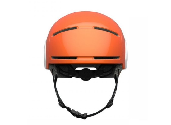 Segway Kickscooter Kids Commuter Helmet Orange air holes spin dial and strap front facing view