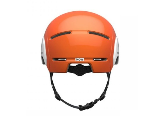 Segway Kickscooter Kids Commuter Helmet Orange air holes spin dial and strap back side view