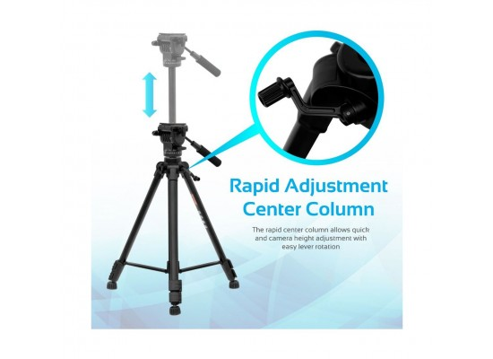 Promate Tripod Professional 170cm 3-Section Extendable Aluminum Leg with Pan Head for DSLR, SLR, Camcorder, Action Camera (Precise-170)