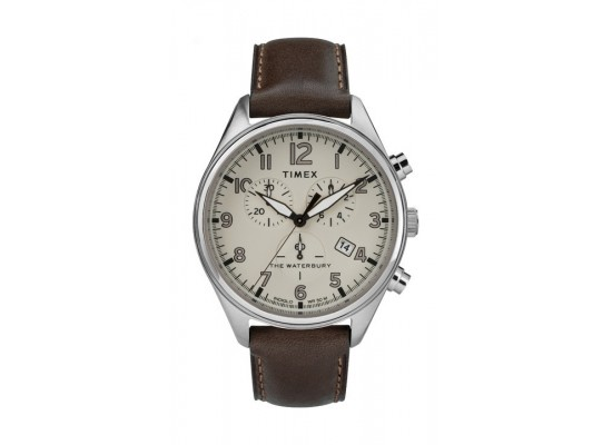 Timex 42mm Gents Leather Chronograph Watch (TW2R88200) - Dark Brown