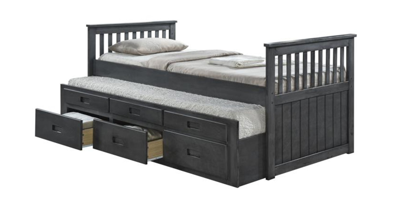 Cassy Captain Silver Bedroom Set With 2 Mattresses  data-src=