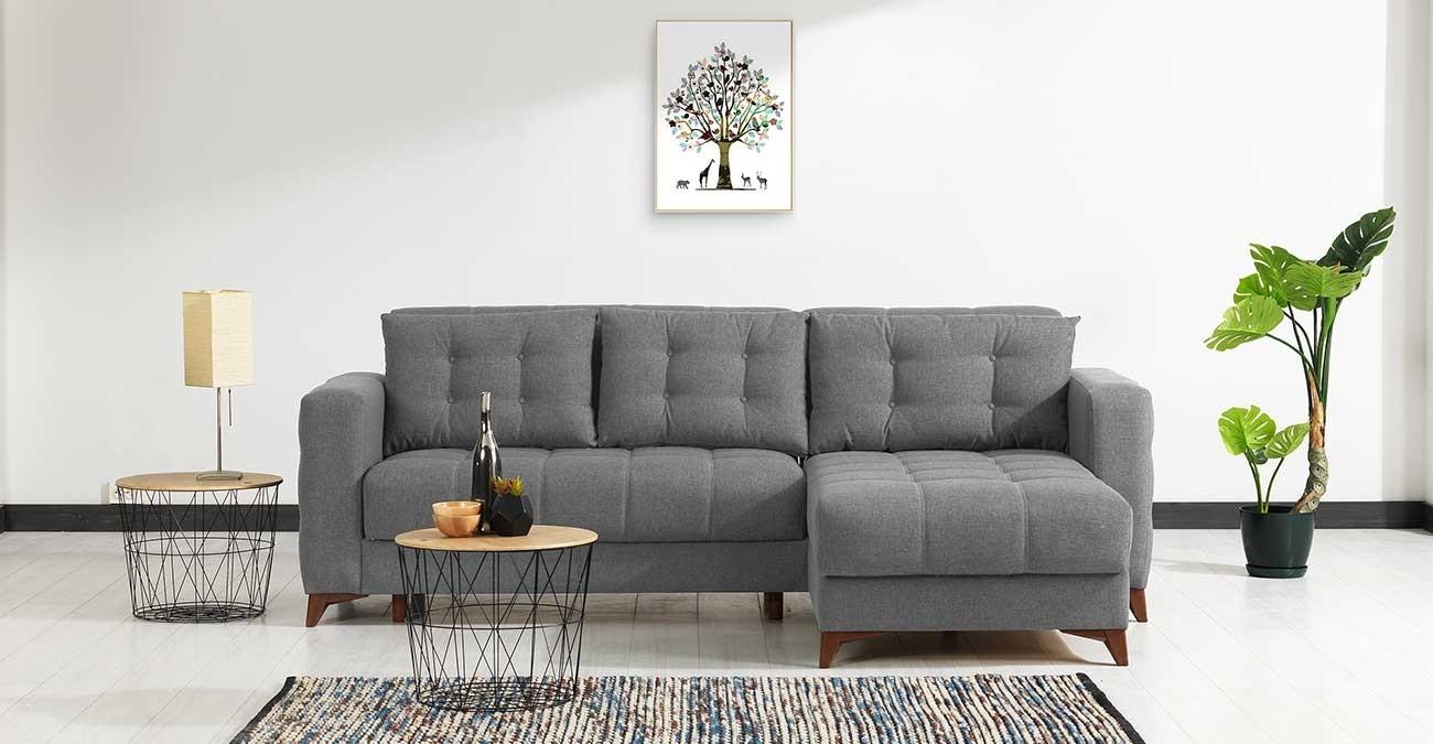 Elza Grey Corner Sofa  data-src=