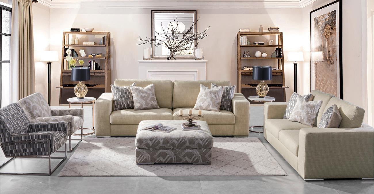 Melbourne  Sofa Set Beige with Pouf  data-src=