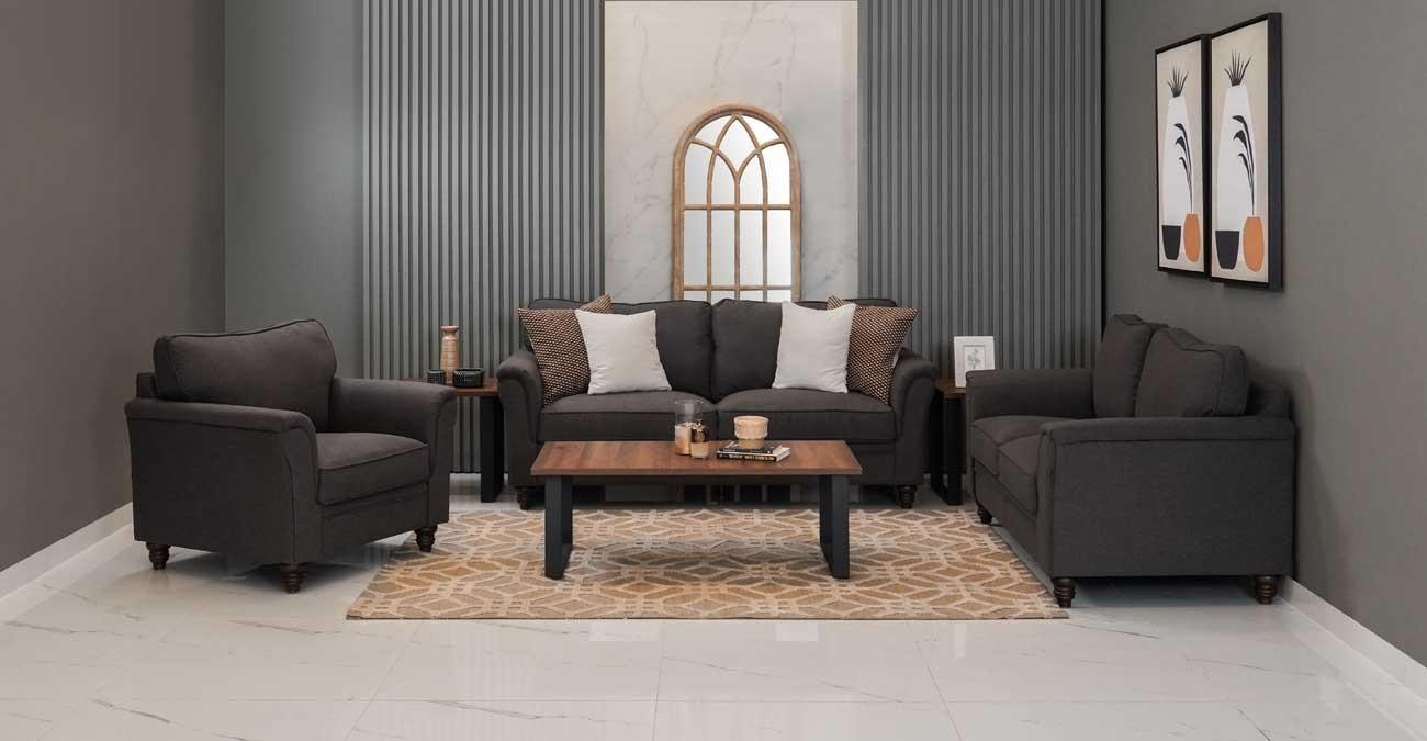 Burgas Sofa Set, Dark Grey  data-src=