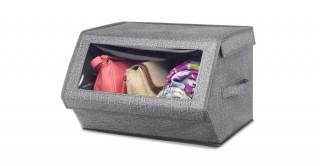 Crosshatch Stackable Window Box-Gray