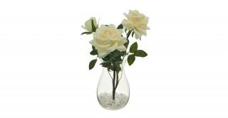 Cream Rose Floral Arrangement In Vase