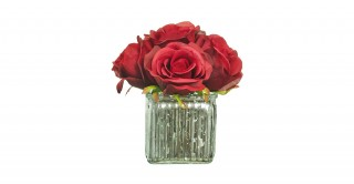 Red Rose Arrangement In Ribbed Vase