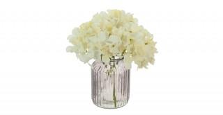 Cream Hydrangea Arrangement In Ribbed Vase
