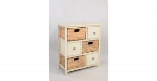Coastal Cabinet 3 Drawer 3 Basket