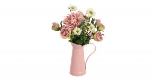 Pink Rose Arrangment In Pitcher