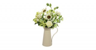 Ivory Rose Arrangment In Pitcher