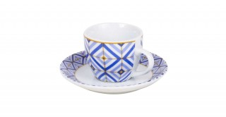 Square 6Pcs Blue Espresso Set