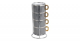 Gigi 4 Pieces Stacking Coffee Cup 11Cm Black