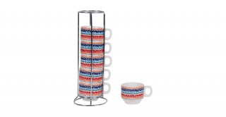Hazel 6Pc Stacking Espressocup 9Cm Red