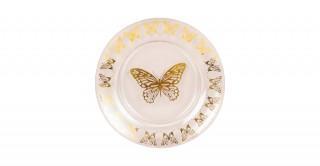 Butterfly Sweet Plate Gold 21Cm