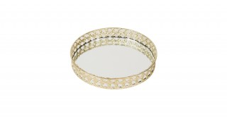MAXI DECORATIVE TRAY GOLD AND CLEAR 26CM