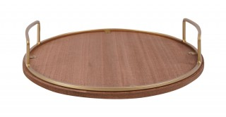 Sandra Wood Tray Gold And Brown 31Cm