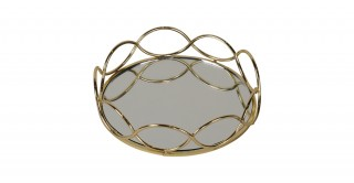 MERCER DECORATIVE TRAY GOLD 24CM