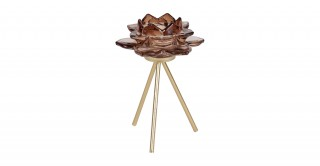 Teo Candle Holders With Metal Base Brown