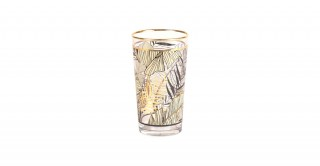 Nyr Tall Glass Trpical Print With Gold Rim Green