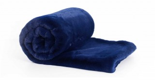 Solid Lux Faux Fur Throw Blue 150X170Cm
